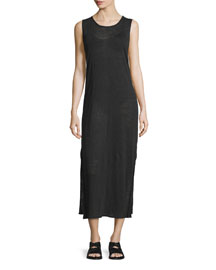 Sleeveless Double-Layer Midi Dress, Black