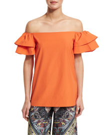 Loryn Off-the-Shoulder Ruffle-Sleeve Blouse, Orange