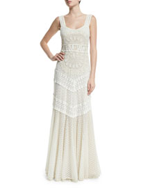 Kimberly Sleeveless Embroidered Maxi Dress, Cream