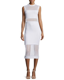 Karman Sleeveless Mesh-Trim Midi Dress, White