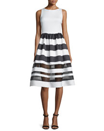 Sleeveless Larue Striped Combo Dress, Black/White