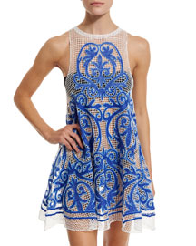 Nostalgia Embroidered Mesh Dress, Blue