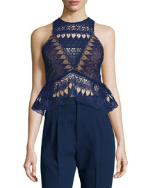 Sleeveless Lace Peplum Top, Navy