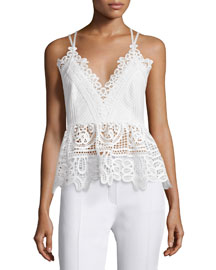 Sleeveless Textured Lace-Trim Top, White