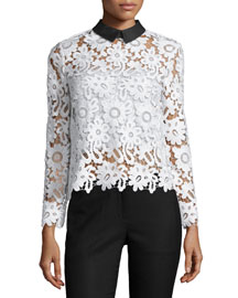 Long-Sleeve Collared Lace Top, White/Black