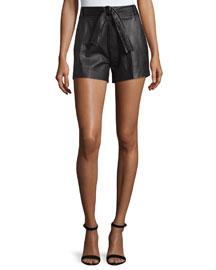 Bridge Belted Leather Shorts, Black