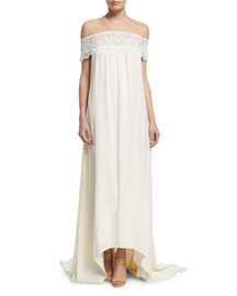 Off-the-Shoulder Chiffon Lace-Trim Gown, Off White