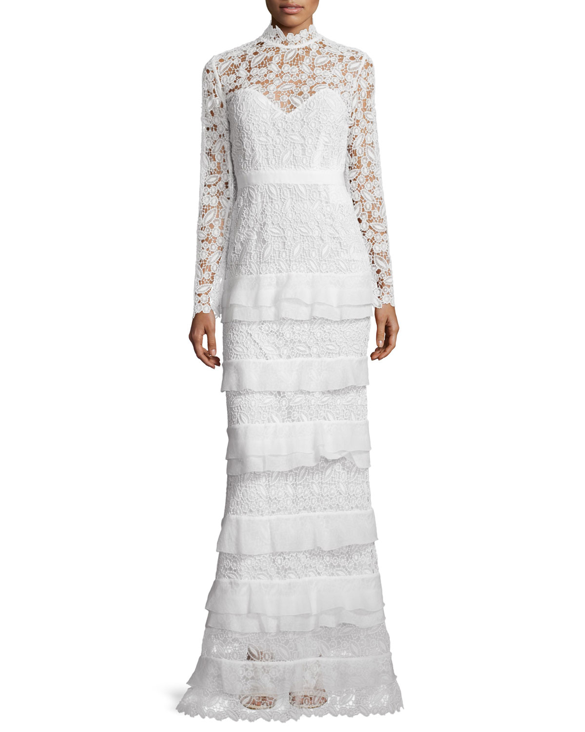Self Portrait Primrose Long-Sleeve Tiered Lace Gown, White, Size: 4