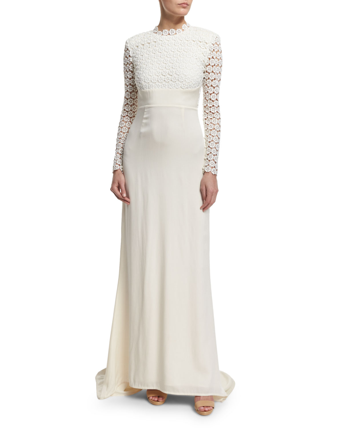 Self Portrait Eva Long-Sleeve Open-Back Combo Gown, Off White, Size: 4