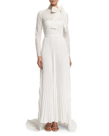 Long-Sleeve Pleated Lace-Trim Gown, Off White