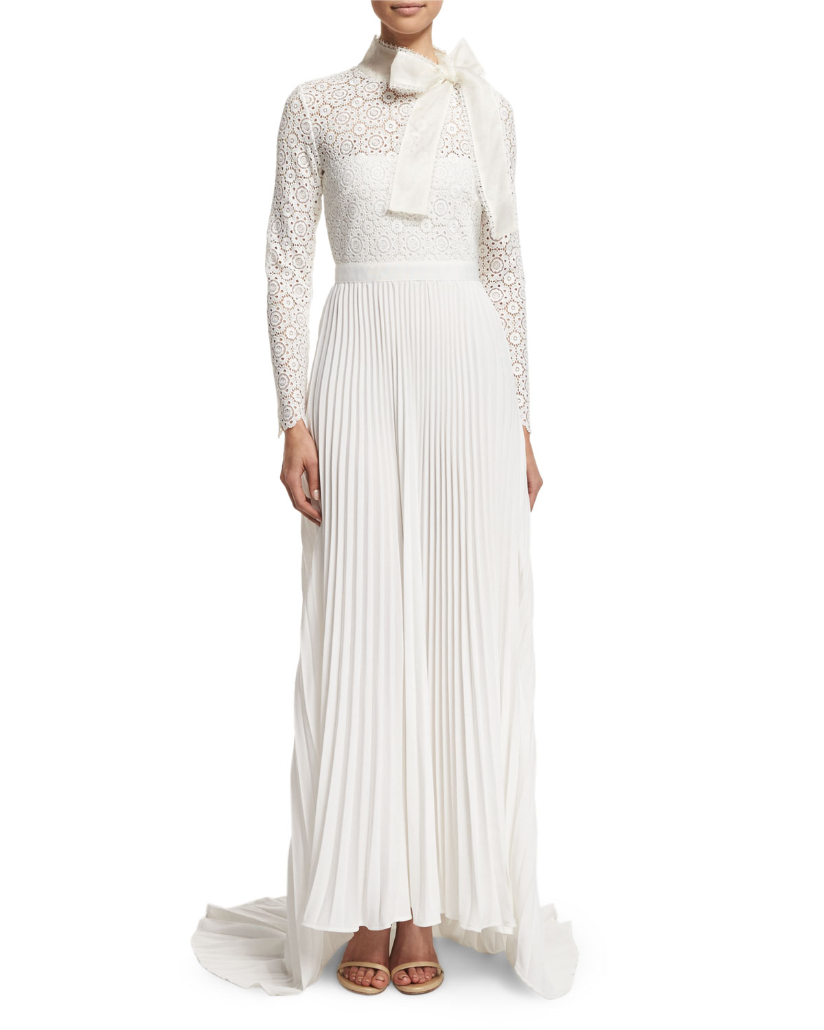 Self Portrait Long-Sleeve Pleated Lace-Trim Gown, Off White, Size: 6