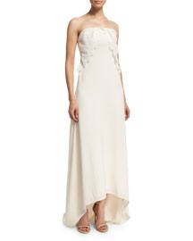 Isabella Strapless Lace-Trim Gown, Off White