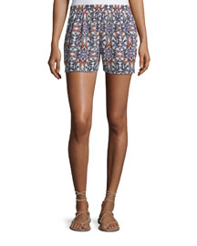 Sibylle Butterfly-Print Silk Shorts