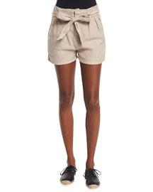 Lunia Tie-Front Linen-Blend Shorts
