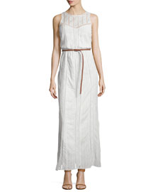 Teviston Embroidered-Lace Belted Dress