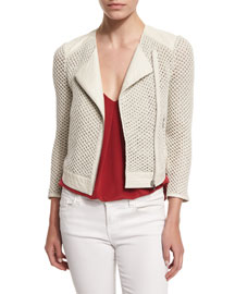 Jaelle Crocheted-Knit Asymmetrical Jacket