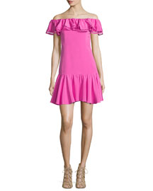 Off-the-Shoulder Silk-Blend Dress, Fuchsia