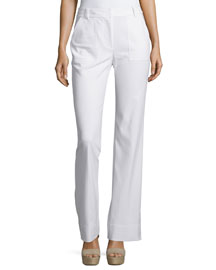 Mid-Rise Stretch Boot-Cut Pants, Snow