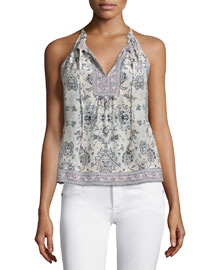 Sleeveless Floral Dreamweaver Top, Black/White