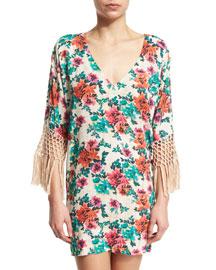 Charlotte Floral-Print Fringe Dress