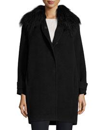 Fur-Trim Wool Coat, Black