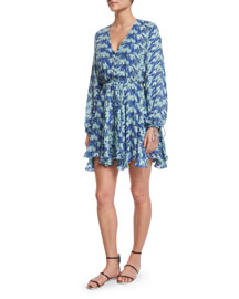 Joey Printed Long-Sleeve Silk Dress