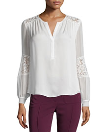 Long-Sleeve Silk & Lace Blouse, Chalk
