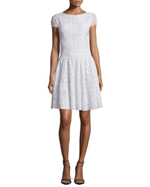 Imani Crochet Medallion Dress, White