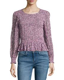 Long-Sleeve Batik-Ruched Mirage Top, Pink