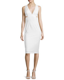 Riki Cutout Leather Midi Dress, White