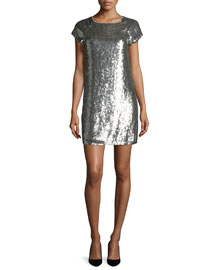 Sherry Sequined Tee Dress, Gray