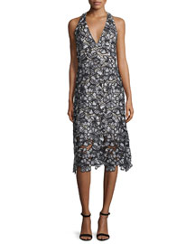 Noreen Floral Lace Midi Dress, Black/Gray