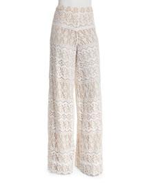 Athena Lace Super-Flared Pants, Cream