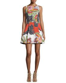 Adrianne Floral Pleated Midi Dress, Multicolor