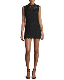 Corail Sleeveless Lace Mini Dress, Black