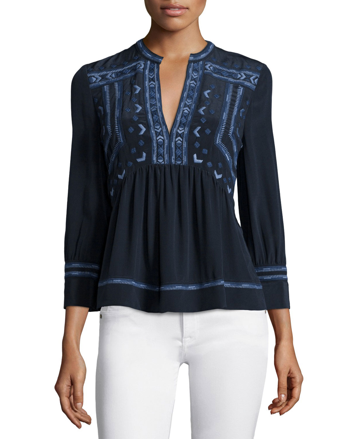 Rebecca Taylor Long-Sleeve Embroidered Top, Navy, Size: 8