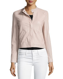 Perforated Leather Motorcycle Jacket, Sheer Pink