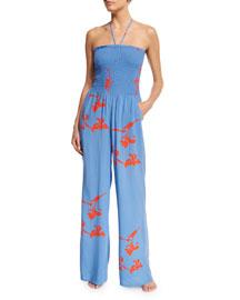 Talisay Floral-Print Jumpsuit Coverup, Dusk Blue
