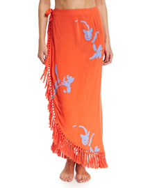 Talisay Printed Wrap Skirt Coverup, Poppy