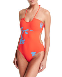 Talisay Cutout Halter One-Piece Swimsuit, Poppy Red Pylos