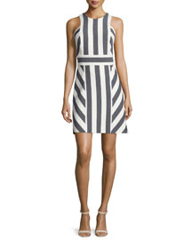 Graphic-Striped Sleeveless Dress, Navy