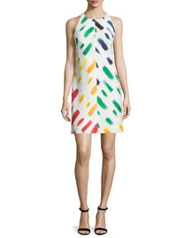 Sleeveless Couture Brushstroke Mini Dress, Multi Colors