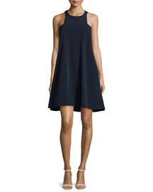 Angular Sleeveless A-Line Dress, Navy