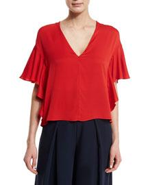 Cascade-Sleeve Silk Blouse, Tomato