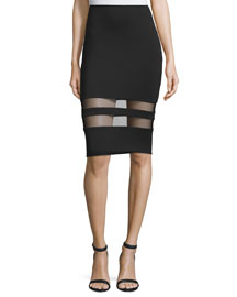 Mesh-Stripe Lux Ponte Skirt, Black