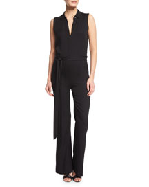 Traci Sleeveless Silk-Stretch Jumpsuit, Black