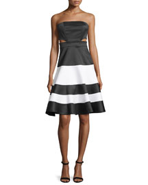 Simona Strapless Satin Cutout Dress, Black/White