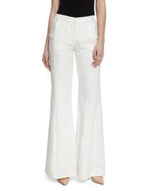 Donna Linen Flare Pants, White