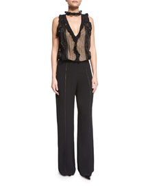 Rasika Macrame Wide-Leg Jumpsuit, Black