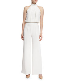 Sang Sleeveless Draped Jumpsuit, White